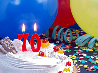 Birthday cake with red candles showing Nr. 70