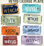 retro license plates vector illustration