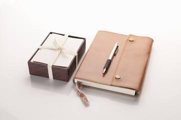 Leather notebook and box of cards