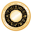 Horoscope Wheel, 12 sun signs of Zodiac, black mandala, labels