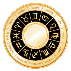 Horoscope Wheel, 12 sun signs of Zodiac, black mandala, labels