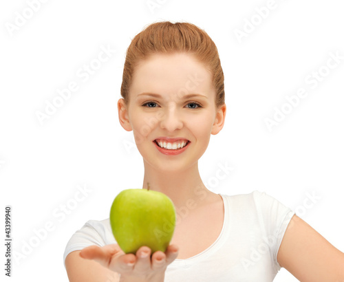 teenage girl with green apple