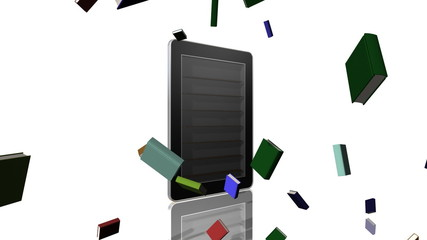 A tablet style computer filling up with books.