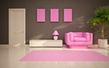 Fototapety modern living room  with  pink chair