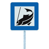 Fish camp sign isolated roadside signpost pole post angling area