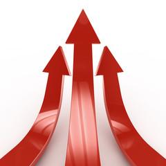 3D red arrows - Success concept