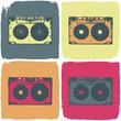 Audio cassette pop-art concept. Vector, EPS8