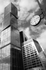 Time for Business - b/w concept with skyscrapers and watch