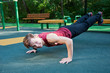 Young man doing fitness exercise