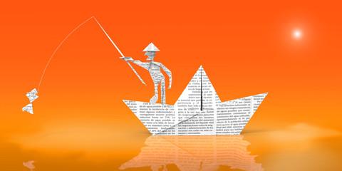 Barco con Hombre Pescando De Papel