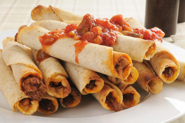 Taquitos with salsa