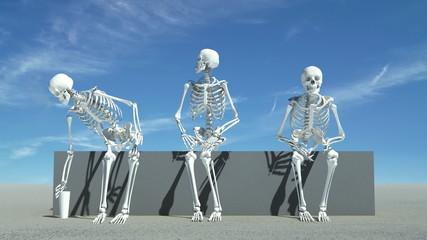 Three skeletons sitting down watching something,