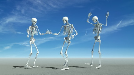 Three skeletons dancing.