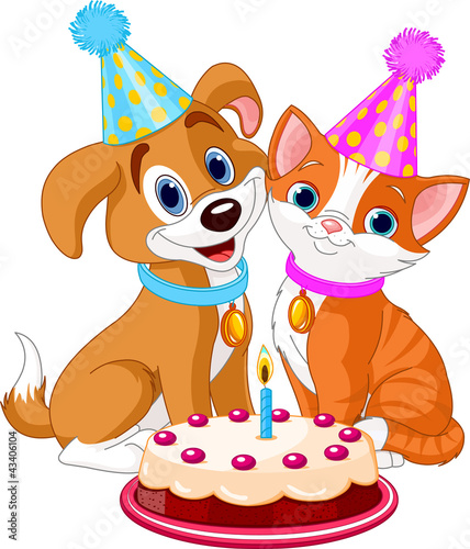 Cat and Dog celebrating