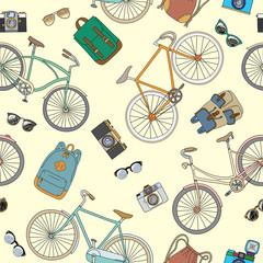 Seamless pattern with bicycles and accsessories