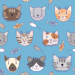 Seamless pattern with cute cats #2