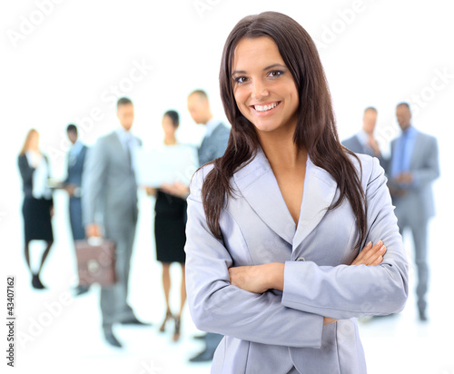 Portrrait of a young business woman with people