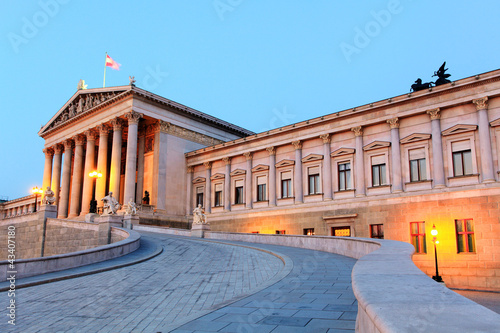 Austrian Parliament in Vienna at sunrise, Austria