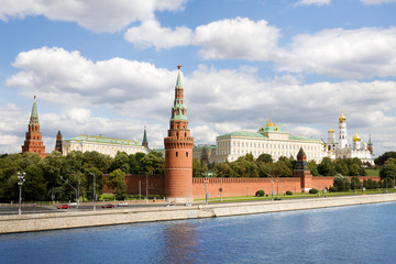 General view at Moscow kremlin and Moskva river in Russia