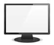 Black computer monitor with white screen