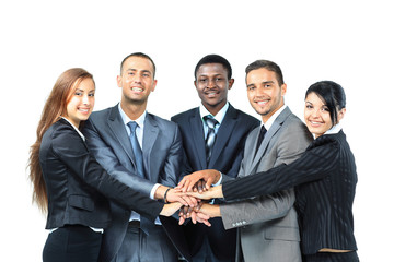 A diverse group of business workers with their