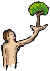 uomo e albero