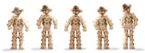 Cowboy boxmen characters on white