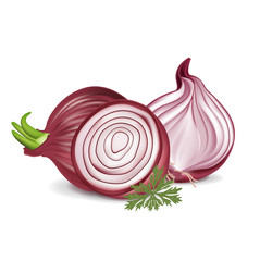 sliced and whole red onions