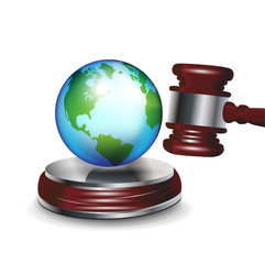 judge gavel and earth globe
