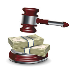 judge gavel and money