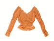 Терракотовая, шелковая блузка / блуза, изолят, на белом фоне.