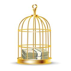 stack of money inside golden birdcage