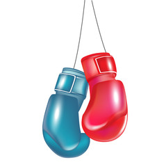 two boxing gloves hanging