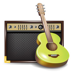acoustic guitar and amplifier or guid