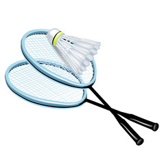 two rackets and badminton shuttlecock