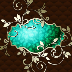 Elegant vintage rococo emblem in vibrant turquoise