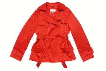 Красный плащ, пиджак, ветровка на белом фоне, изолят.