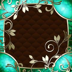 Elegant vintage rococo frame in vibrant turquoise