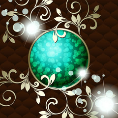 Elegant vintage rococo emblem in dark green