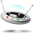 Astronave Navetta Spaziale UFO Cartoon Spaceship-Vector