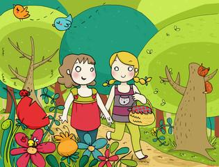 due amiche passeggiano nel bosco