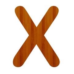 3d Font Wood Letter X
