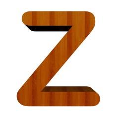 3d Font Wood Letter Z