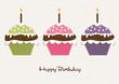 Drei Cupcakes zum Geburtsgtag mit Geburtstagskerzen