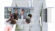 Man scrolling business meeting videos