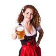 junge brünette Frau im Trachtenkleid mit Masskrug
