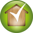 Green button -  wooden energy saving house