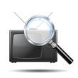 Icono lupa 3d con simbolo televisor