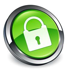 Padlock icon 3D green button