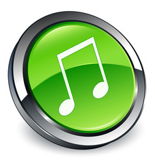 Music icon 3D green button